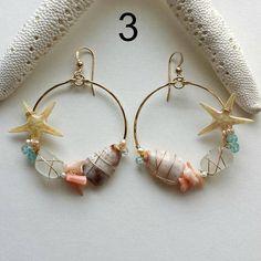 Estrella de mar aro pendientes pendientes de cristal de mar