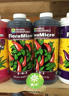 FloraMicro es el nutriente que provee de Nitrógeno, Potasio, Calcio y otros elementos micro-esenciales para un régimen completo de las plantas.  Visita nuestra página www.elmundoverde.mx en donde encontrarás los productos que necesitas para cultivos de interior y de exterior.