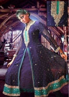 pakistani dresses designers    Navy Blue Embroided Anarkali Front Open Crinkle Chiffon Dress