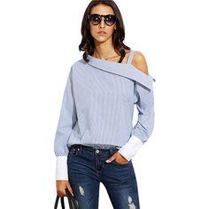 Женская рубашка с длинным рукавом, в полоску, с открытым плечом