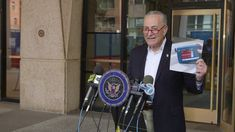 Chuck Schumer spoke about Fetanyl in a Press Conference. He announced the new effort and budget appointment in order to stop this drug to come into United St. Central America, North America, Conference, Scene