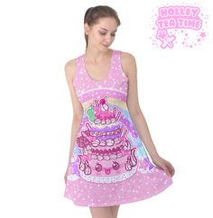 ✨ Kawaii Sparkle Cake Sleeveless Skater Dress ✨ Everyday Cutie Sale ✨ Made To Order ✧ Fairy kei ✧ Decora kei ✧ Cute Food ✧ Harajuku Fashion from Holley Tea Time Dresses For Sale, Cute Dresses, Elegant Dresses, Sparkle Cake, White Marshmallows, Japanese Street Fashion, Everyday Dresses, Harajuku Fashion, Cute Food