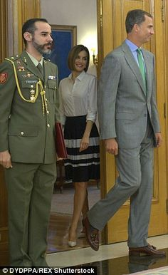 Making an entrance: The Spanish royals arrive for the audience at the Zarzuela Palace in Madrid