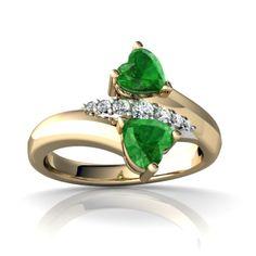 dainty heart shaped emerald ring