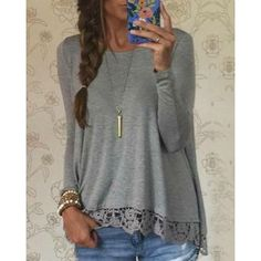Stylish Lace Spliced Hem Long Sleeve Gray T-Shirt For Women (GRAY,M) in Long Sleeves | DressLily.com