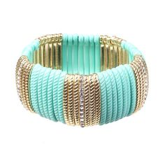 Super Cute Striped Stretch Bracelet Turquoise & Gold with Rhinestones.