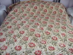 Winter Weight Vintage Quilt French  from Provence Hand Stitched. Double sided. by JacquelineMcEwan on Etsy