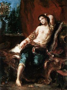 EUGENE DELACROIX. Odalisque, 1857, oil on wood.