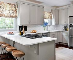 Awesome White U Shaped Kitchen Inspiring Designs With Astounding ...
