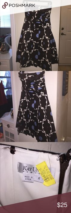 ✨⬇️price drop❗️Kay Unger formal dress Kay unger brown blue and white floral print strapless dress. Originally purchased from Macy's for $250. Worn once and dry-cleaned. Perfect condition. Kay Unger Dresses Strapless