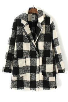 ++ black & white plaid pattern wool coat