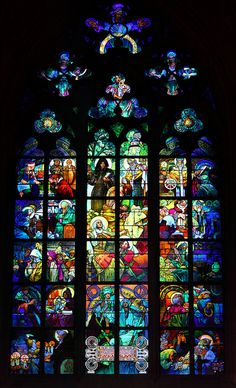 Stained glass window, Cathedral of Saint Vitus, Prague - Alphonse Mucha