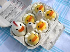 Hard boiled eggs made into little chicks...