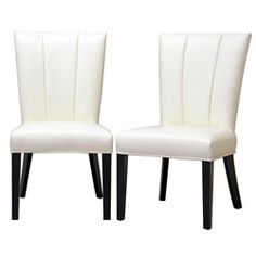Janvier Off White Leather Dining Chair (Set Of 2)