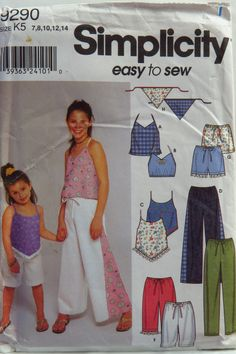 Simplicity 9290 Child's and Girls' Tops, Pants, Shorts and Scarf
