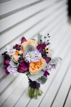 replace the orange with a lavender colored flower or a darker eggplant one? Fall Wedding, Our Wedding, Dream Wedding, Wedding Things, Wedding Ideas, Wedding Stuff, Wedding Planning, Elegant Flowers, Exotic Flowers