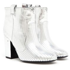 LAURENCE DACADE Pete Metallic Leather Disco Boot (1.455 BRL) ❤ liked on Polyvore featuring shoes, boots, ankle booties, leather bootie, high heel booties, leather boots, leather ankle booties and high heel boots
