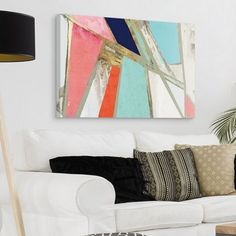 Abstract Multicoloured Neon Deep Blue Decor Wall Canvas Print Picture A2 A1 A0