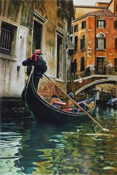 Fine Art and You: Edwin Herde Gondola, Venice Painting, Magazine Illustration, Travel Inspiration, Travel Photography, Beautiful Places, Scenery, Destinations, Around The Worlds