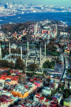 An amazing view of Hagia Sofia, the Blue Mosque and the Bosphorus Straits in Istanbul