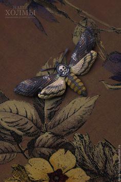 """Купить Бражник """"Acherontia atropos"""" - Брошь - желтый, черный, череп, голова, бражник, бабочка, мотылек"""