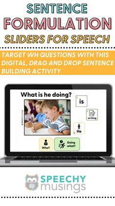 Target WH questions, formulating sentences, and early syntax with this digital, drag-and-drop, sentence building activity! Because it uses real pictures and age-appropriate, simple icons, it can be used with a wide variety of students, ages, and levels! This digital resource is great for in person speech therapy or teletherapy or distance learning! #sentenceformulationactivities #sentenceforumlationspeechtherapy #speechtherapyactivities #whquestions #speechideas #slp Sensory Activities For Autism, Speech Therapy Activities, Autism Resources, Receptive Language, Speech And Language, Teaching Autistic Children, Figurative Language Activity, Sentence Building, Wh Questions