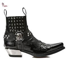New Rock Bottes à talon en acier noir en cuir Biker - M.7950 (EU 41, noir) - Chaussures new rock (*Partner-Link)