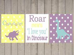 Nursery Art  Kids Wall Art  Girl Dinosaur  Roar by ArdenRaeDesigns, $25.00