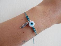 Evil Eye  Steel Feather Macrame Light Teal Bracelet White | Etsy #ethnic #jewelry #bracelet #evileye #feather #indian #indianstyle #boho #summer Light Teal, Ethnic Jewelry, Evil Eye, Bracelet Making, Silver Color, Macrame, Feather, Indian, Steel