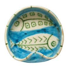 Guido Gambone Fish design ceramic dish, Italy, c. 1950