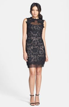 $198, Betsy & Adam Two-Tone Lace Sheath Dress available at #Nordstrom wish it wasn't in black, though :(