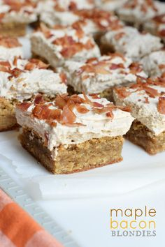 You're going to love these Maple Bacon Blondies! From the chewy blondie base, to the sweet maple frosting and salty bacon, these will be gone in no time!
