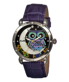 Purple & Silver Mother-of-Pearl Owl Ashley Leather-Strap Watch