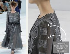 Sleeve Head Details at Chanel   The Cutting Class. Chanel, Haute Couture, AW14, Paris. Gathering runs down the sleeve with slight gathering at the sleeve head.