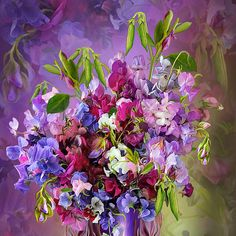 Sweet Peas In a Sweet Pea vase Such a romantic bouquet Of precious memories Of unspoken pleasures and bliss Every fragrant blossom As intoxicating as A lover's kiss. Sweet Peas In Sweet Pea Vase prose by Carol Cavalaris Art Floral, Sweet Pea Bouquet, Raindrops And Roses, Hand Painted Walls, Illustration Art, Illustrations, Language Of Flowers, Canvas Prints, Art Prints