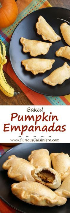 Lightly sweet and full of pumpkin pie flavor, these Baked Pumpkin Empanadas are a fun treat for any pumpkin lover!   www.CuriousCuisiniere.com
