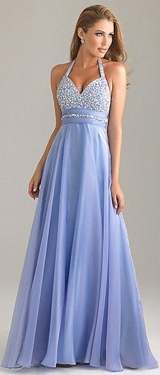 Sleeveless Chiffon Long Halter Natural Prom Dresses ykdress4427