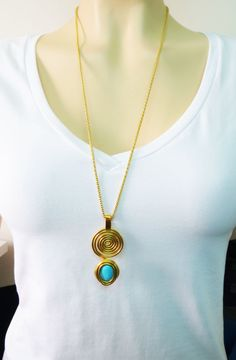 Bohemian Jewelry, Long Gold Necklace, Gemstone Pendant Necklace, Statement Necklace, Statement Pendant, Gift For Mom, Wrap Gold Necklace, by IrisKreshes on Etsy