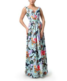 Look what I found on #zulily! Mint & Pink Floral V-Neck Maxi Dress - Plus Too #zulilyfinds
