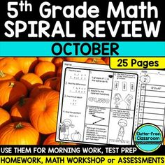 FIFTH Grade Math Homework or 5th Grade Morning Work for OCTOBER - You are going to love using these 25 pages for homework, morning work, RTI, small group math lessons, assessments, math center or stations, and more! The consistent format makes spiral review or test prep easy all year long! Your students will work on adding, subtracting, patterns, comparing numbers, shapes, word problems, fractions, volume, graphs, and MUCH MORE! Click through for all the details! $