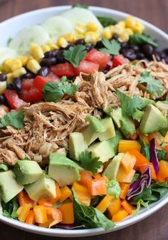 Shredded Chicken Tacos #Salad with Chipotle Ranch Crema #healthyeating