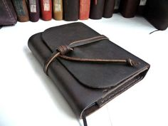 Refillable waxed leather journal A6 Free Initialling by inkitbooks, $40.00