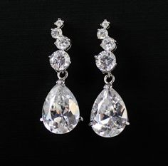 Crystal Teardop  Wedding Earrings BRIDAL Jewelry by JamJewels1, $39.00