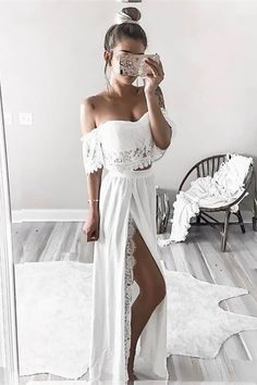 two piece long prom dresses, white off the shoulder formal dresses, fashion high slit party dresses with lace