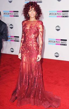 Rihanna in an Elie Saab Couture gown at the 2010 American Music Awards