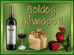 Képeslap névnapra férfiaknak, ajándékcsomaggal, borral és rózsával.