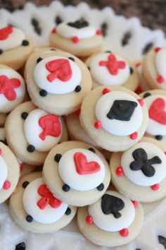 Ace, Spade, Heart, Diamonds Cookie Nibbles - 5 Dozen Miniature Vanilla Sugar Cookies