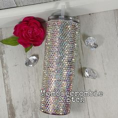 Rhinestone Tumbler Tumblr Cup, Strongest Glue, Custom Tumblers, Voss Bottle, Rhinestones, Resin, Cups, Handmade Items, Cricut