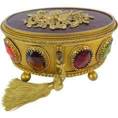 """Antique French Jeweled Oval Hinged Box """"BIG GEMS"""" from worldrarities on Ruby Lane"""