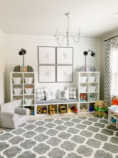 Gray and White Playroom Tour Small Playroom, Toddler Playroom, Playroom Design, Playroom Decor, Kids Room Design, Nursery Decor, Boys Playroom Ideas, Gray Playroom, Kids Playroom Storage